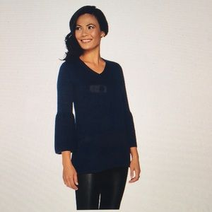 H by Halston V-neck bell sleeve sweater tunic
